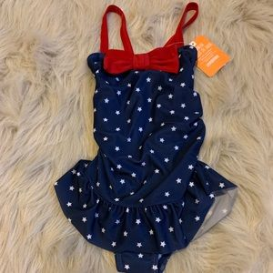 Red white and blue toddler bathing suit
